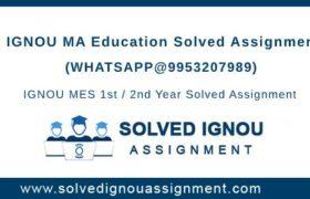 MA Education IGNOU Assignment