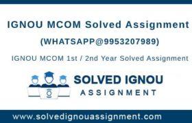 MCOM IGNOU Assignment