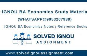 IGNOU BA Economics Study Material