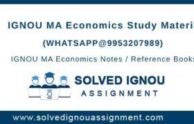 IGNOU MA Economics Study Material